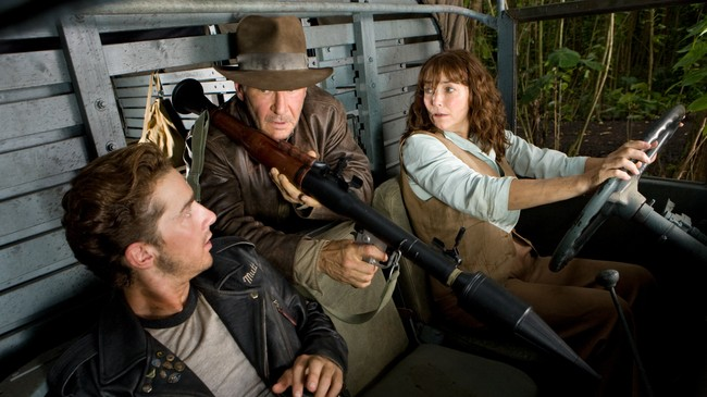 Shia LaBeouf, Harrison Ford og Karen Allen i Indy 4. (Foto: Photo Credit: David James/David James)