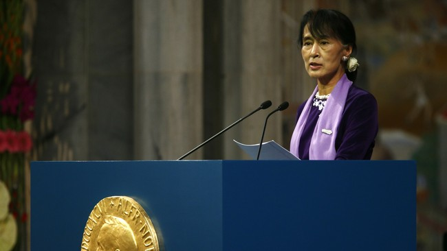 Aung San Suu Kyi holder sitt Nobelforedrag (Foto: serud, Lise/NTB scanpix)