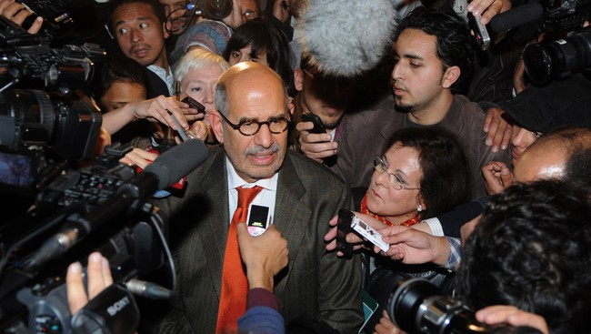Mohamed ElBaradei mter pressen i Kairo 27. januar 2011 (Foto: STRINGER/EGYPT/Reuters)