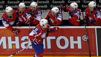 ICE-HOCKEY-WORLD/ Norway's Olimb celebrates a goal against Finland during their quarter-final match at the Ice Hockey World Championships in Bratislava