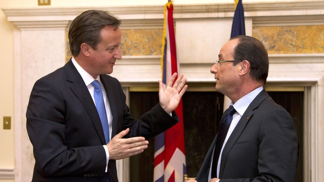 Francois Hollande og David Cameron i Washington (Foto: CHRISTOPHE ENA/Afp)