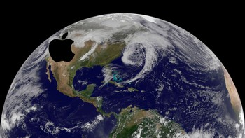 USA-WEATHER/ Satellite image shows the low pressure systems in the eastern Pacific Ocean, over the United States' Heartland, and in the eastern Atlantic Ocean