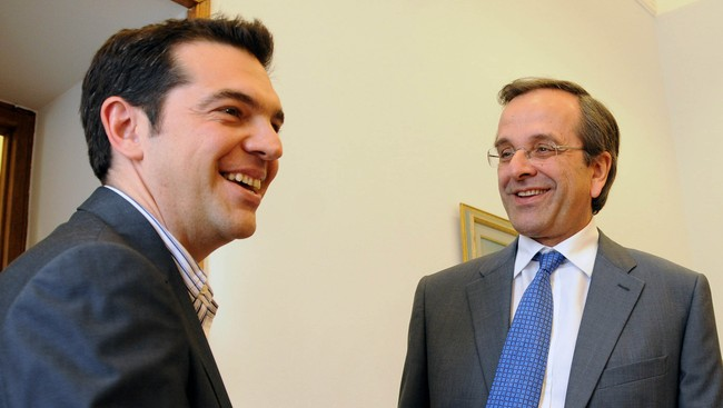 Alexis Tsipras (t.v.) og Antonis Samaras (Foto: EVI FYLAKTOU/Afp)