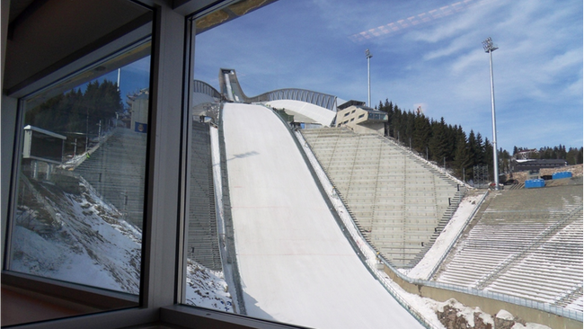 View from Ski Jumping HS 134 commentary position.  (Foto: Odd Kaldefoss/NRK)