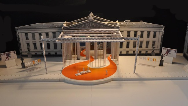 Model of medal ceremonies arena in downtown Oslo. (Foto: Grindqaker)