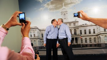 USA-GAYMARRIAGE/DOMA File photo of gay couple Duran and Shields kissing after their gay marriage in New York