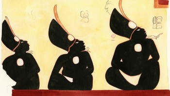 USA/ Three male figures, seated and painted in black are pictured in a Mayan painting in this undated handout photo