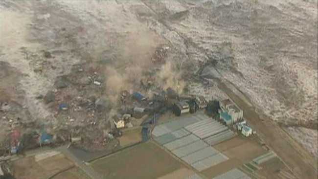 Tsunami after the devastating eartquake in Japan