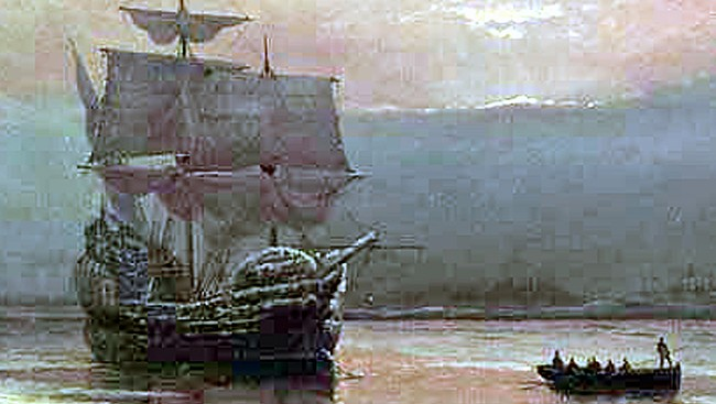 Mayflower  William Halsall, 1882 at Pilgrim Hall Museum, Plymouth, Massachusetts, USA