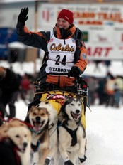 Sigrid Ekran i starten av Iditarod 2008 (Foto: Al Grillo/AP)