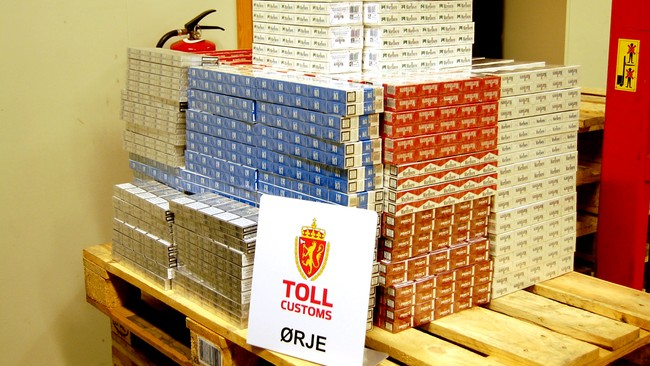 Sigarettbeslag (Foto: Tollvesenet)