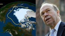 Issmelting og James Hansen (Foto: NASA/Carl de Souza. Montasje NRK/Reuters/Scanpix/AFP)