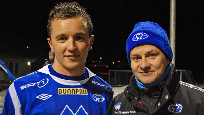 Vaimen Even Hovland og Molde-manager Ole Gunnar Solskjr. (Foto: ystein Fossum)