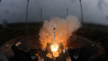 SPACE-EUROPE/ Handout photo of Soyuz VS01 as it lifts off carrying the first two satellites in Europe's Galileo global positioning system, at the Guiana Space Center in Sinnamary,