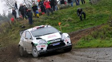 Mads Østberg under shakedown i Wales (Foto: Adapta World Rally Team)
