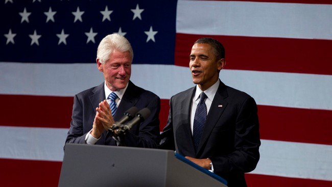 Barack Obama og Bill Clinton (Foto: Carolyn Kaster/Ap)