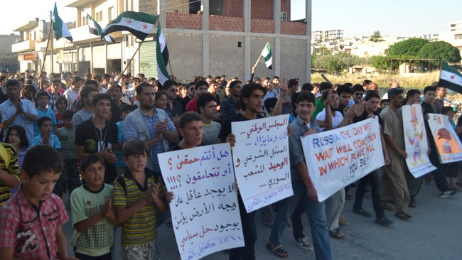 Syriske demonstranter Idlib (Foto: HANDOUT/Reuters)