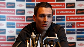 SOCCER-ENGLAND/ England's Downing attends a news conference at the team hotel in Watford, north of London