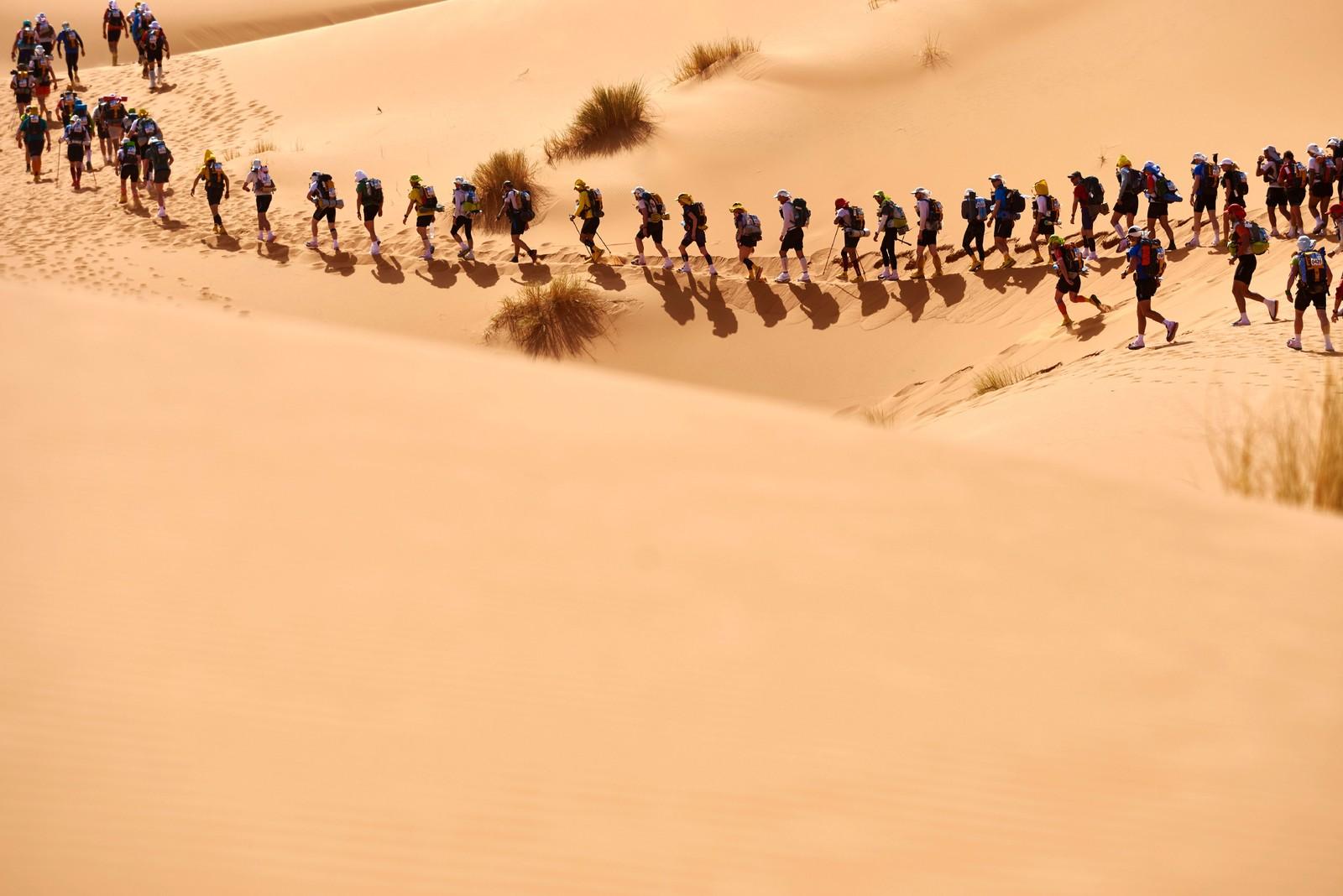 LANG, LANG REKKE: Deltakerne i ultraløpet Marathon des Sables som foregår i Saharaørkenen sør i Marokko. Løpet er 257 km langt og går over seks dager. Deltakerne må bære med seg alt de trenger for å gjennomføre løpet, deriblant mat, i en sekk på ryggen, bortsett fra vann. Marathon des Sables blir regnet for å være verdens tøffeste løp. .