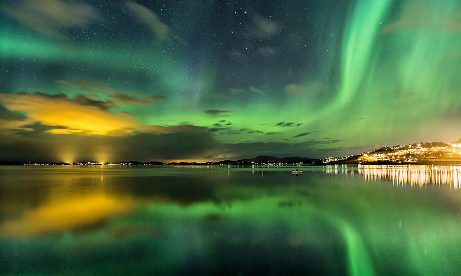 Aurora over Trondheimsfjorden