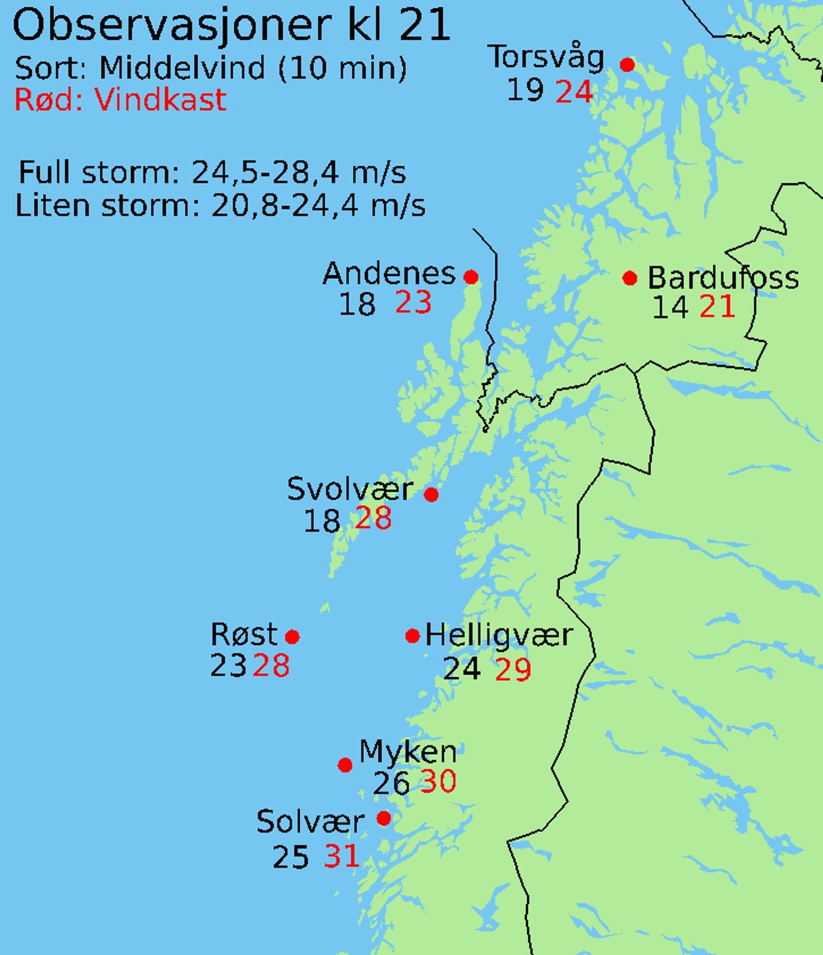 Vindstyrke i Nordland og Troms kl 21, 7.2.