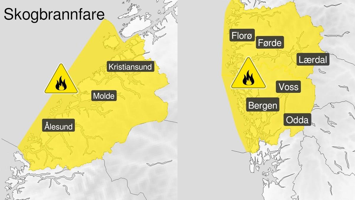 KAN BLI ORANSJE: Meteorologen har allereie sendt dette varselet for Møre og Romsdal og Vestland.