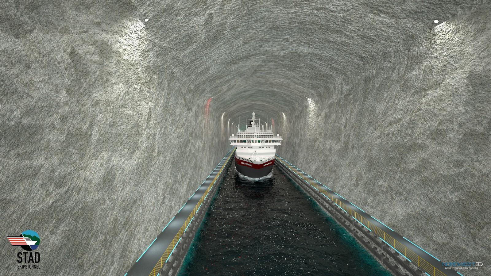 Hurtigruteskip i Stad skipstunnell (illustrasjon).