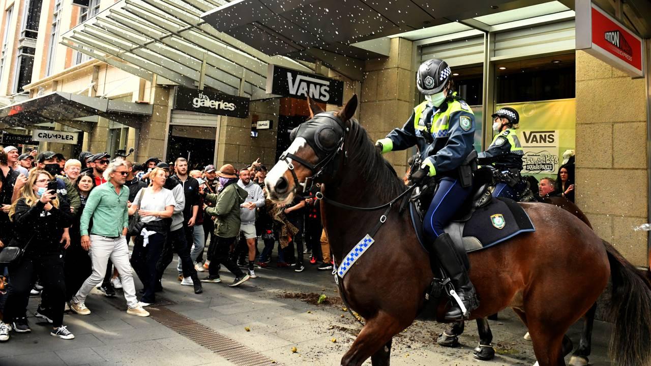 An anti-lockdown rally in Sydney as COVID-19 outbreaks affect Australia