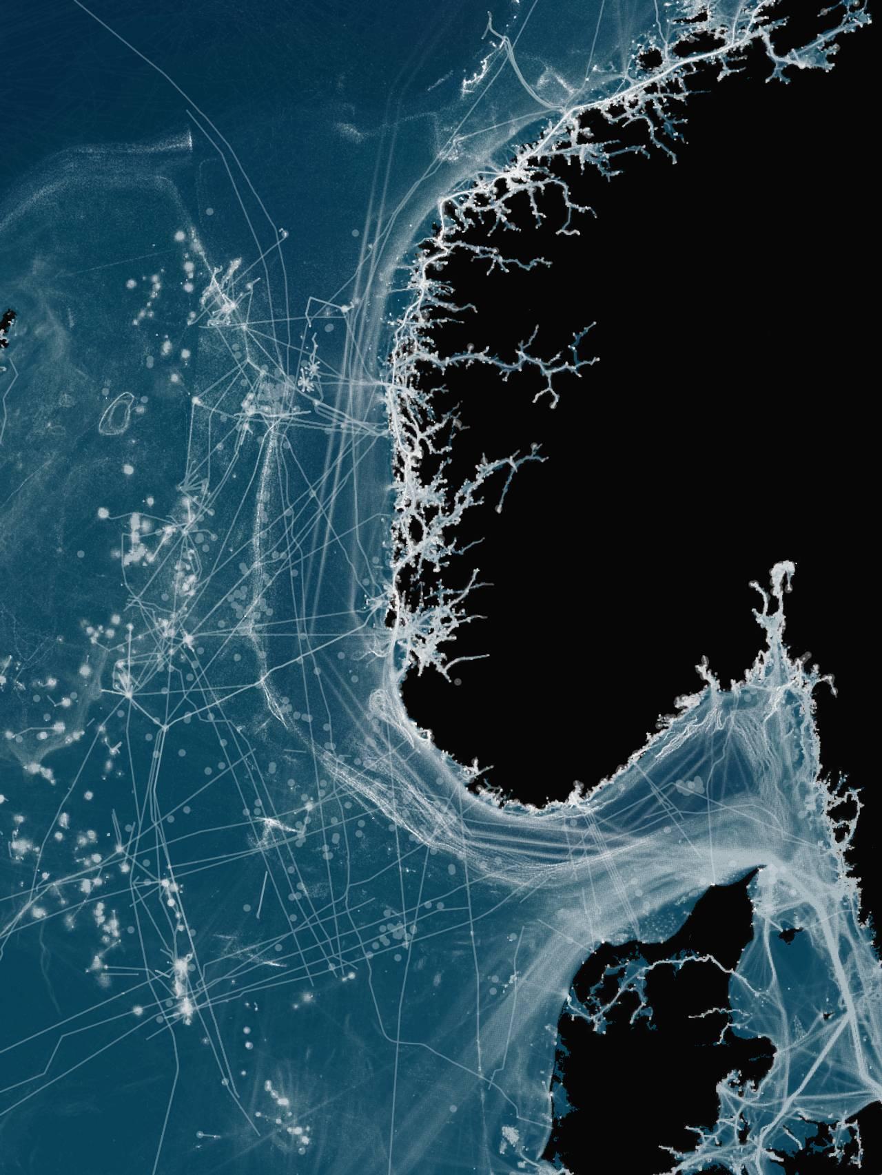 Kartet viser en oversikt over menneskelig aktivitet i Nordsjøen.