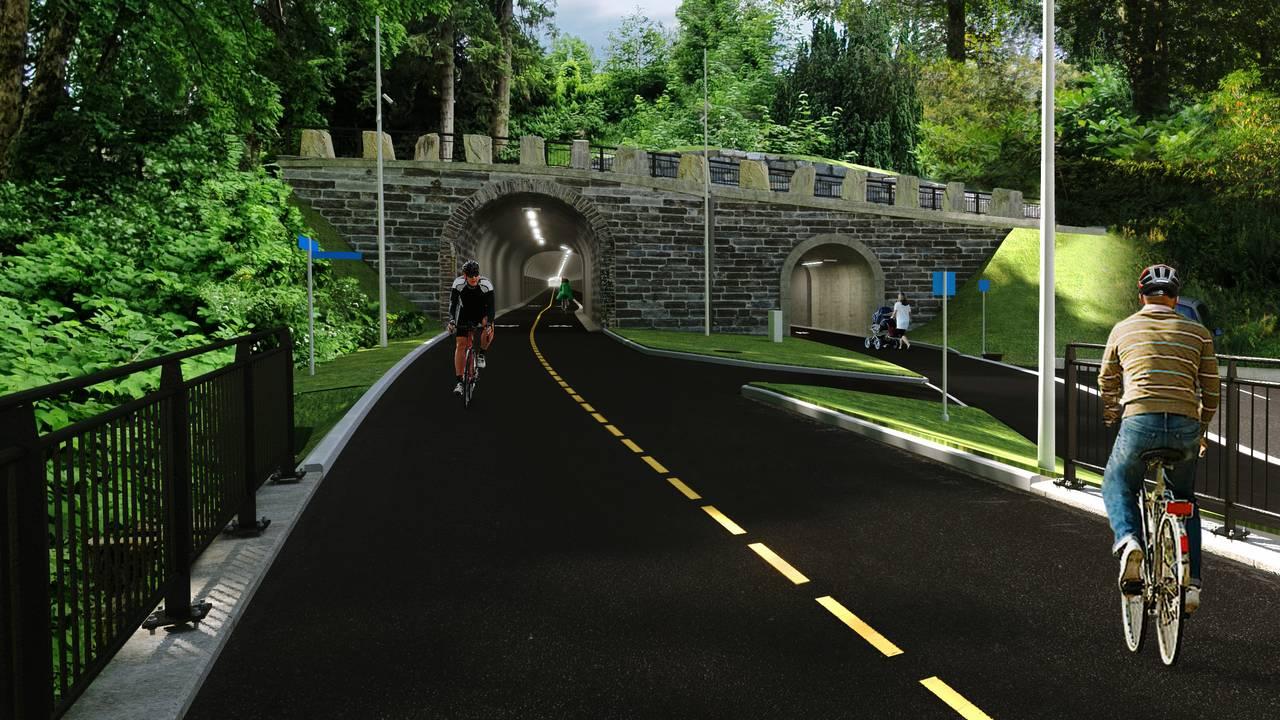 Illustrasjon av sykkeltunnelen gjennom Kronstadtunnelen sett fra Møllendal