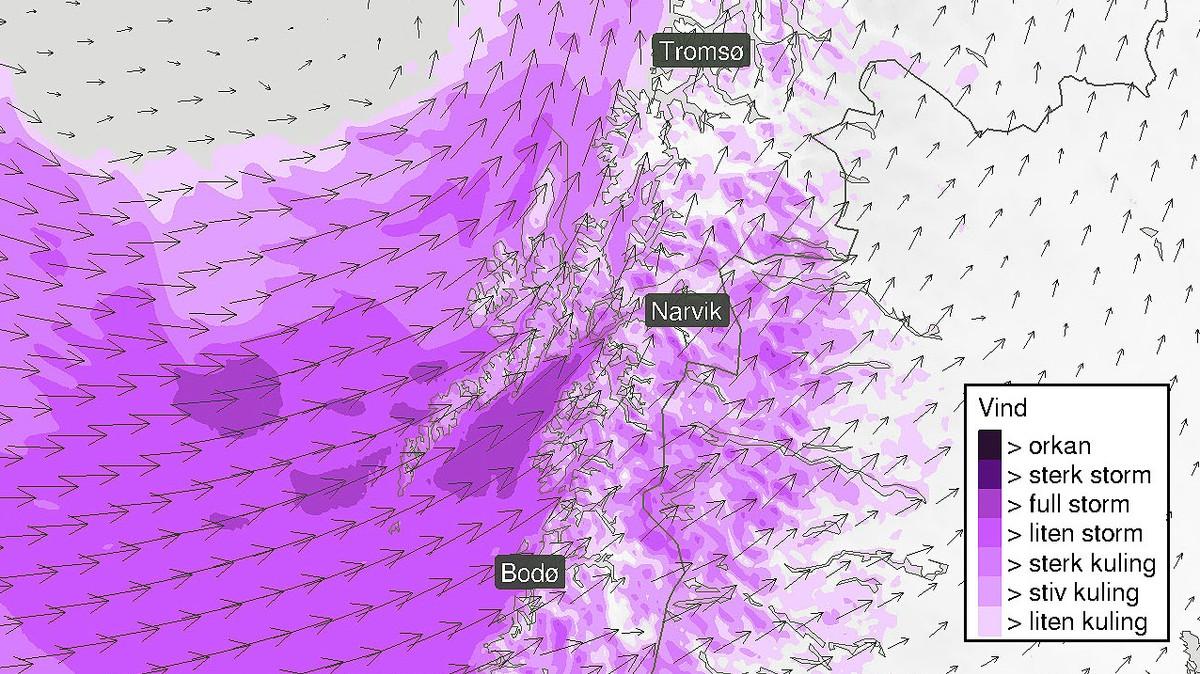 KRAFTIG VIND: Det kan bli eit heftig døgn i Nordland og Troms, med fare for store nedbørsmengder og kraftig vind. Figuren viser prognosane for vinden måndag ettermiddag.