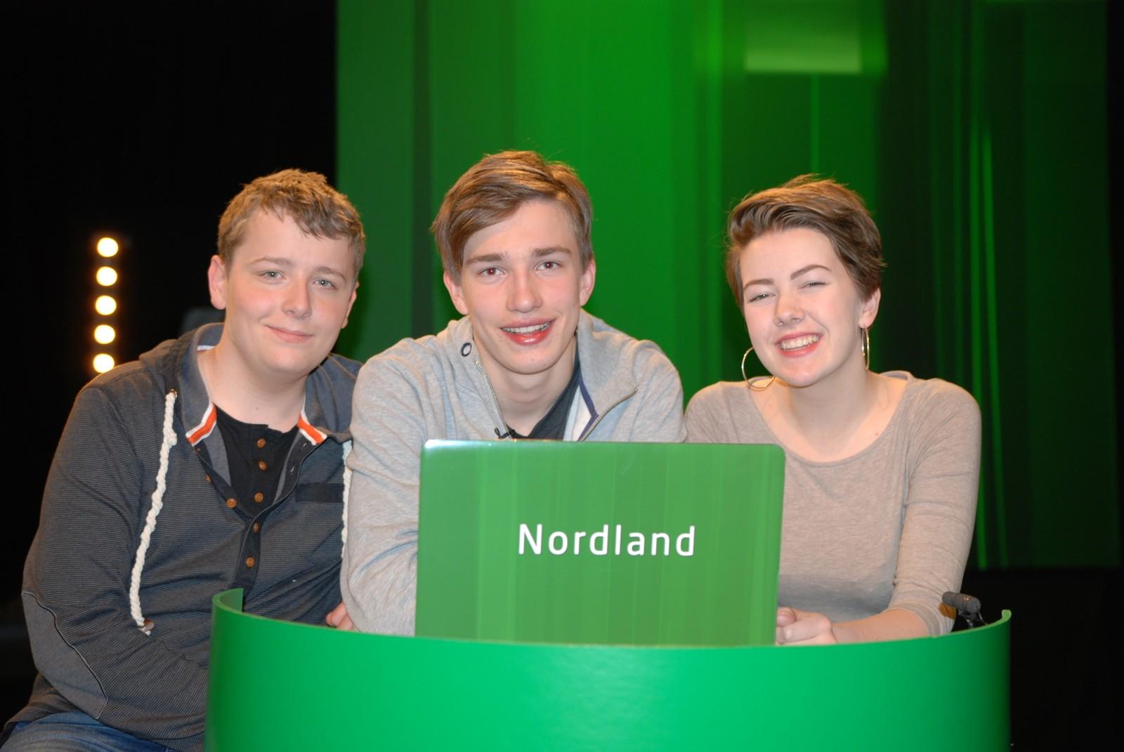 NORDLAND: Kippermoen ungdomsskole i Mosjøen representert ved Thea Maageng Nordås, Daniel Søfting Eilertsen og Elias Kolsvik Eide.