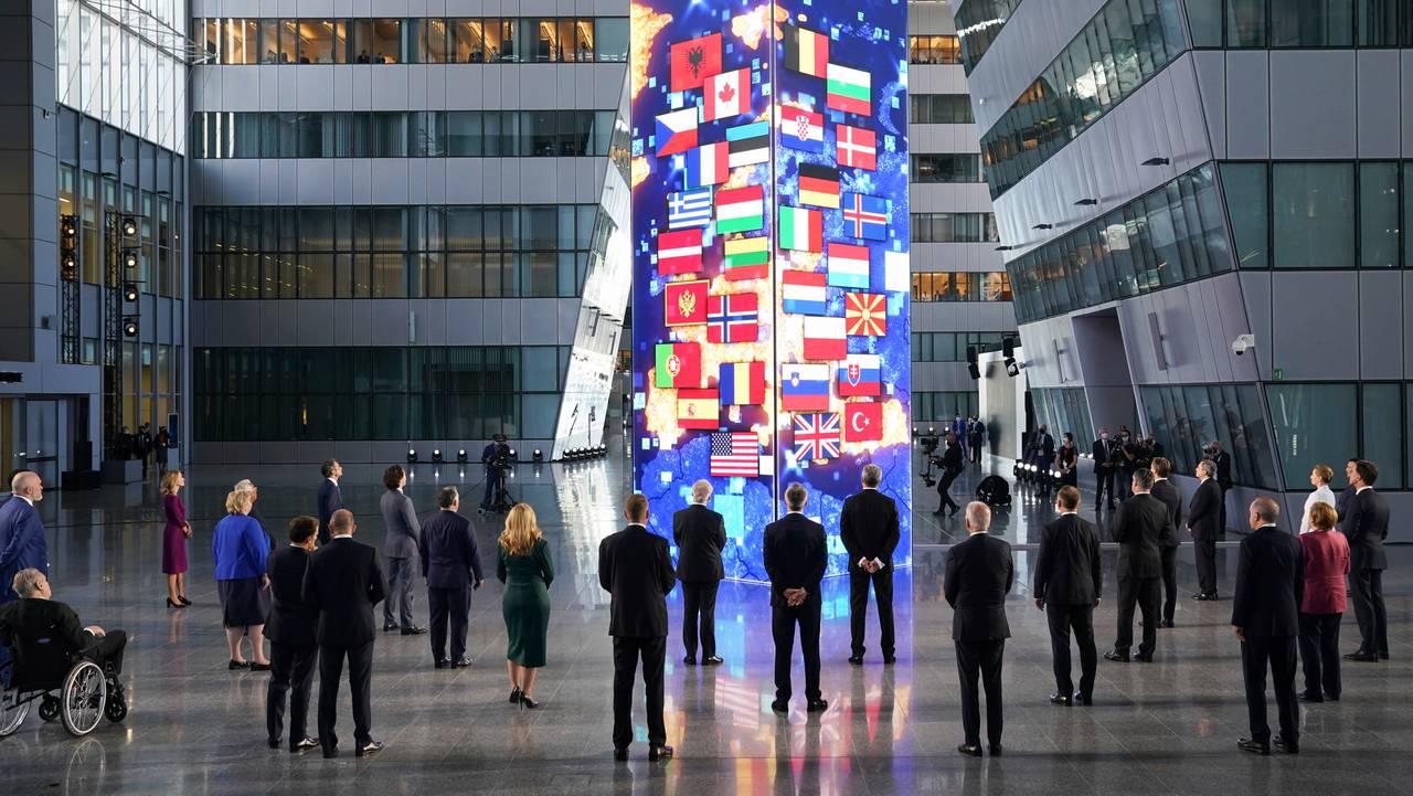 Lederne for Nato-land samlet i Nato-hovedkvarteret i Brussel før toppmøtet 14. juni 2021.