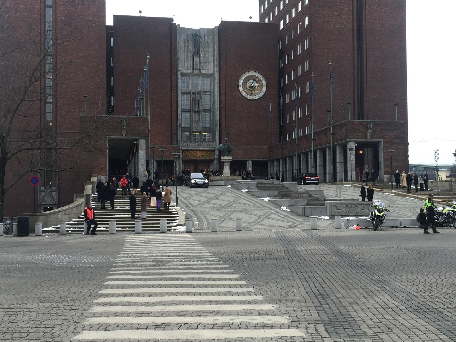 Snømannen-innspilling på Oslo rådhus.