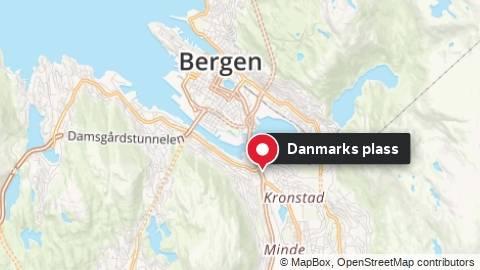 Kartet viser Danmarks plass i Bergen der slagsmålet foregikk