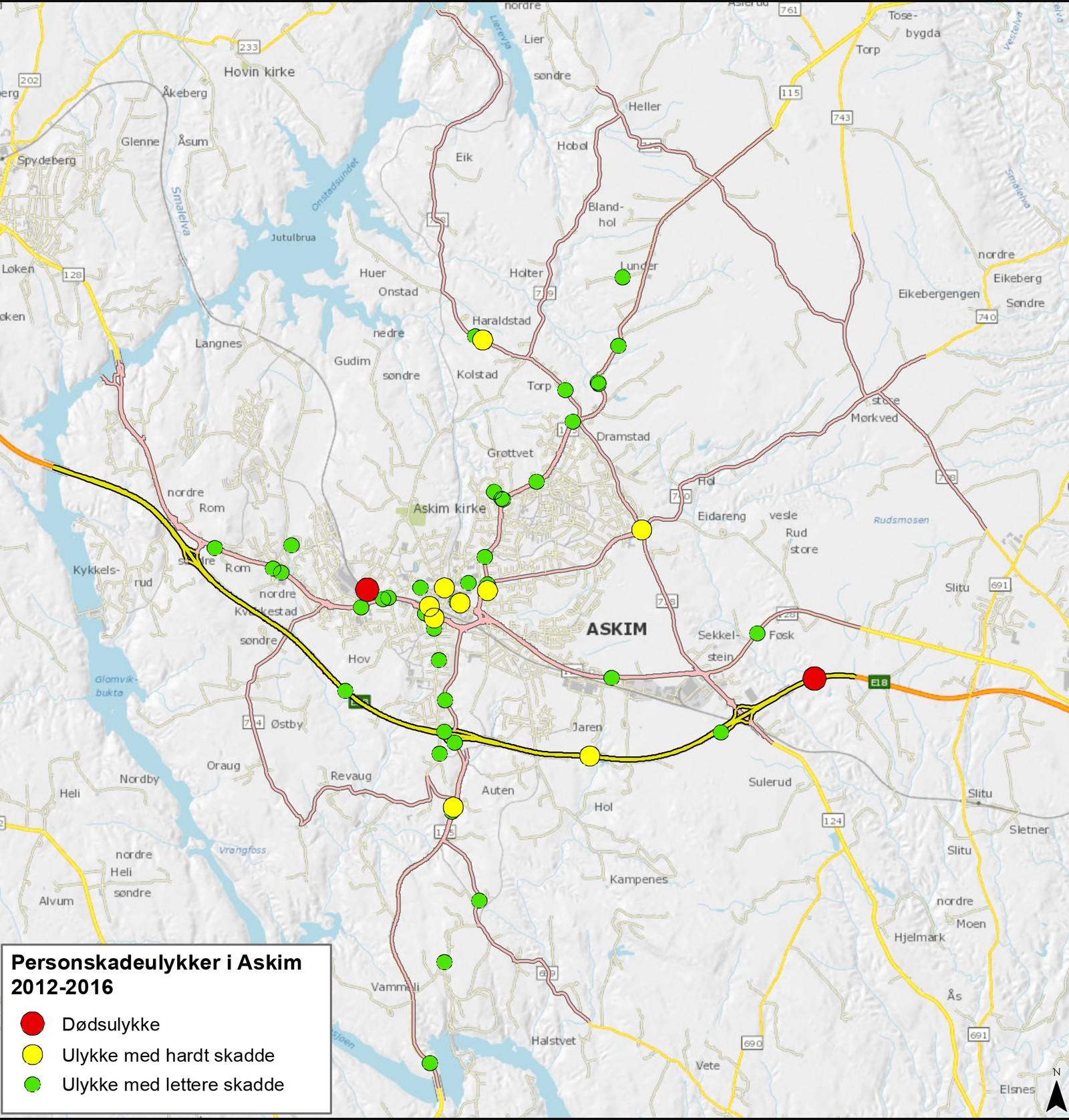 Askim er Østfold-byen i vegvesenets oversikt med færrest trafikkulykker.