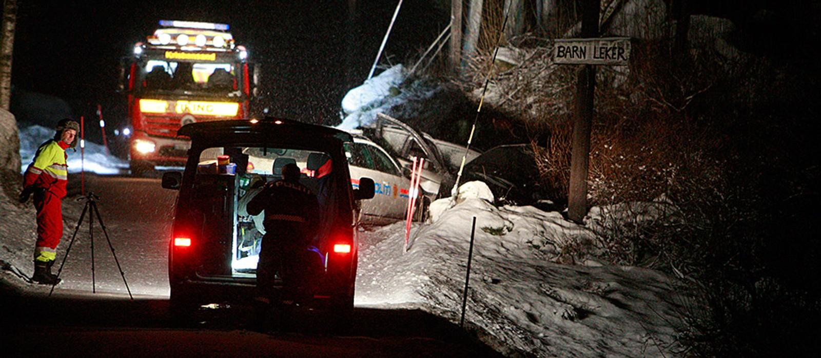 Politibilen klarte ikke å stanse og kjørte inn i bilen den forfulgte ved Stupstad.