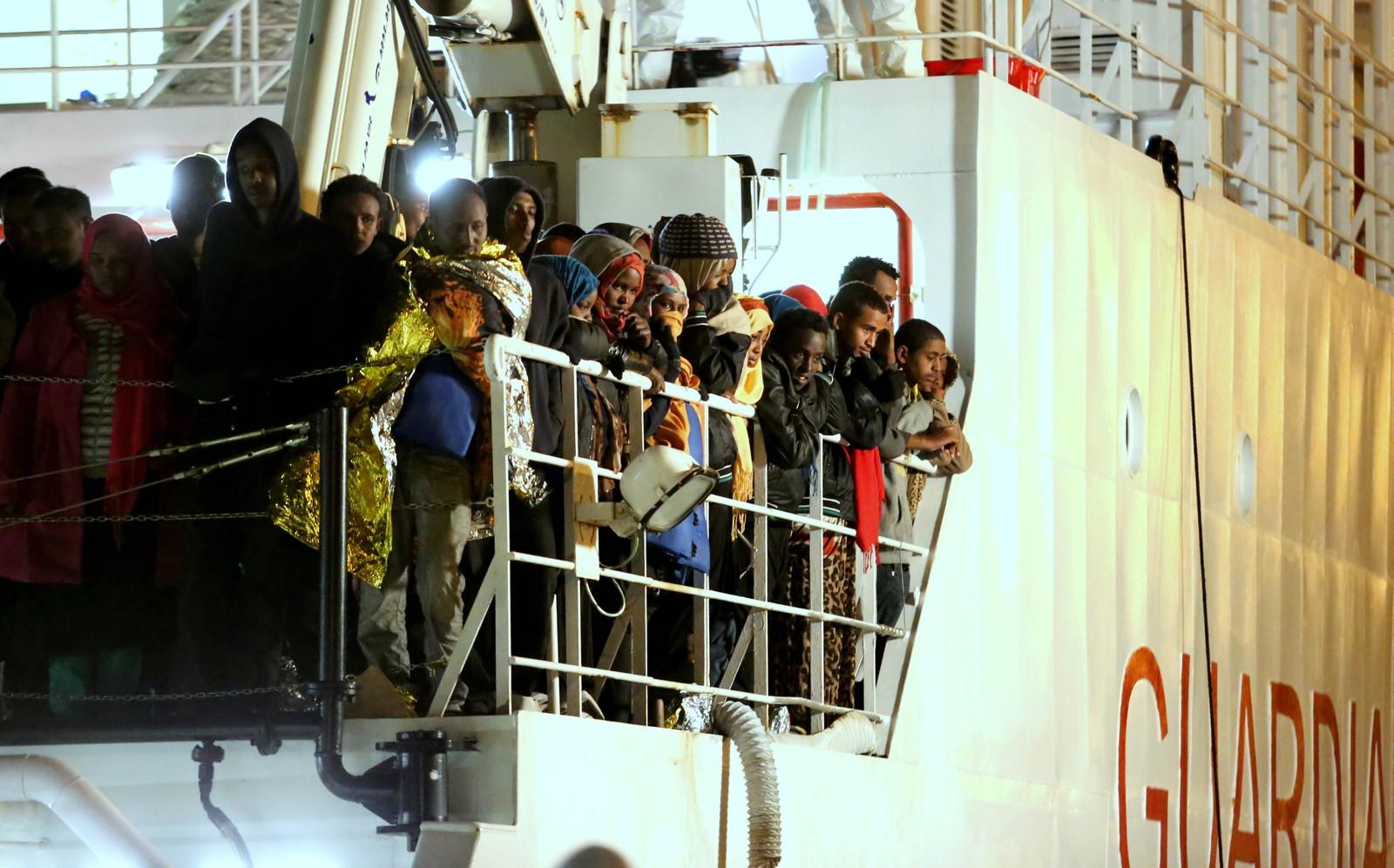 Båtflyktninger i Palermo, Italia 14. april 2015.