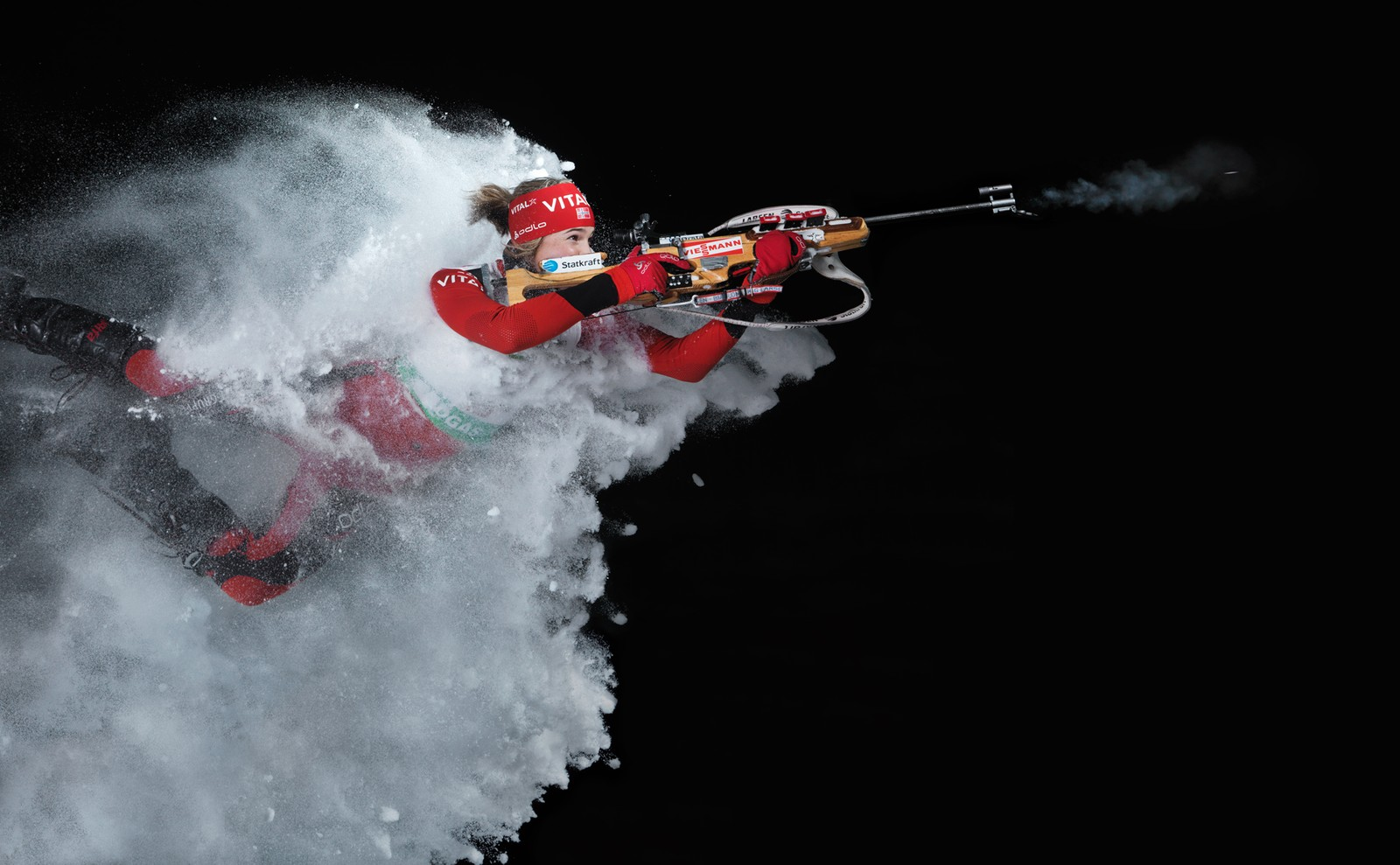 I 2012 tok Thomas Morel dette blinkskotet av skiskyttar Ann Kristin Flatland. Biletet vart tatt utandørs i 20 minusgrader.