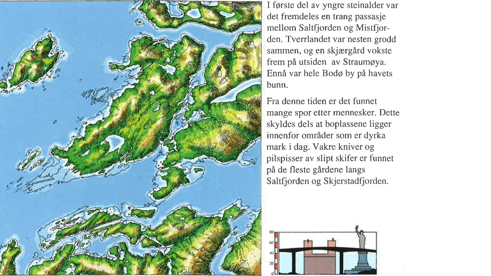 For 4500 år siden var havnivået 40 meter høyere enn i dag. Fra heftet «Spor ved Saltstraumen gjennom 10.000 år» av Hein Bjartmann Bjerck.