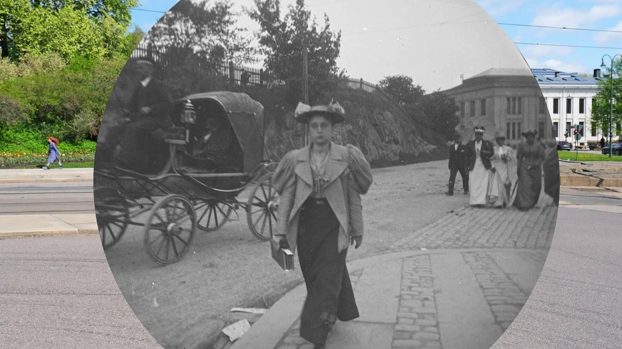 Frk. Tulli Robsahm fotografert av Carl Størmer i Oslo på 1890-tallet - rammet inn i 2021.