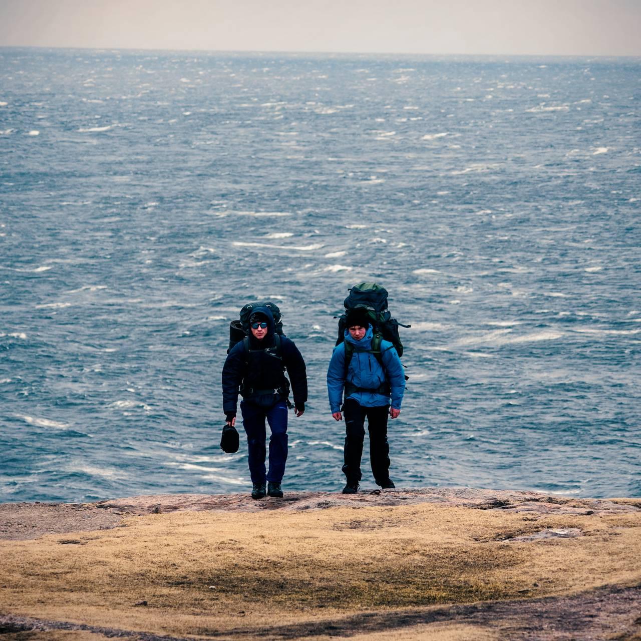 Første stegene på ekspedisjonen over Lindesneshalvøya