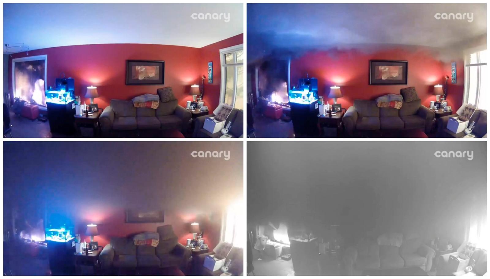 Bilder fra et overvåkingskamera som viser hvordan skogbrannen sluker hjemmet til James O'Reilly i Fort McMurray, Alberta, Canada, 6. mai 2016.