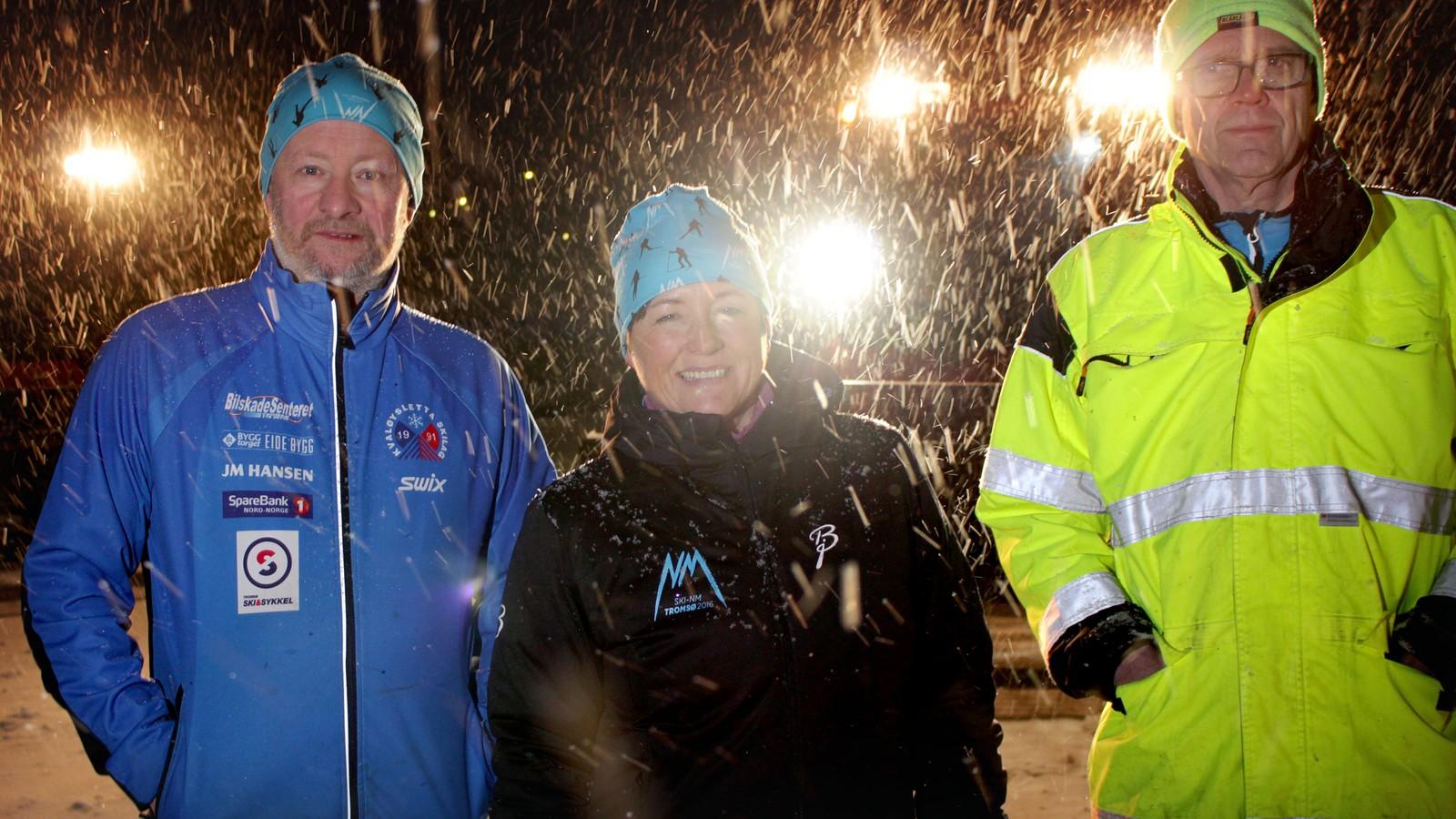 Bjørn-Arne Sørensen, løypesjef, Sylvi Ofstad, rennleder og Hugo Andreassen, løypekjører.