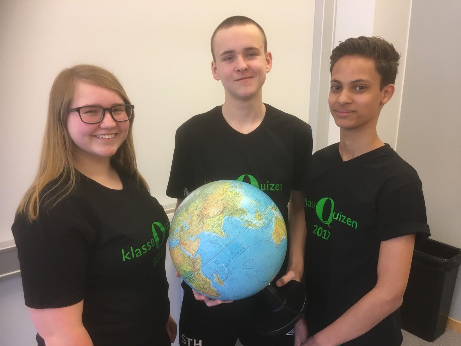 Mari Elise Kolstad, Thomas Hansen og Åsmund Lorch-Falch fra Eidskog ungdomsskole