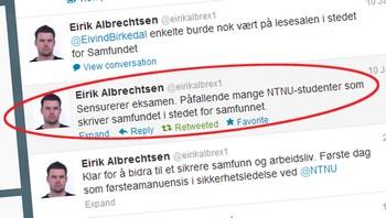 """Twitret om skrivemåte for """"samfundet""""."""