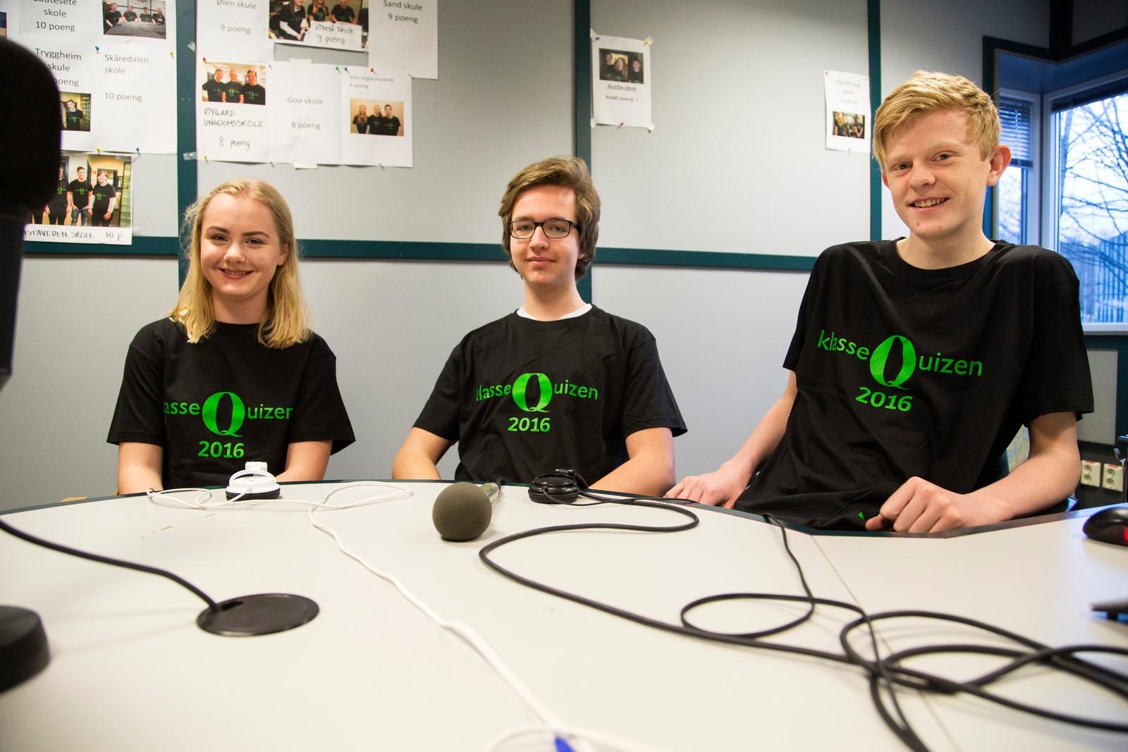 9 POENG: Kannik skole, Stavanger. Fra venstre: Malena Tjensvold Reese, Jørgen Hestnes, Johan Christie Ørke