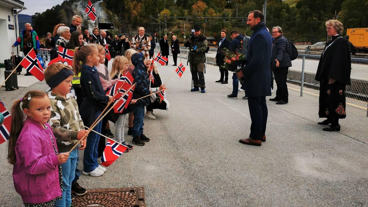 Folk med flagg på Dombås stasjon for å ønske kronprins Haakon velkommen.