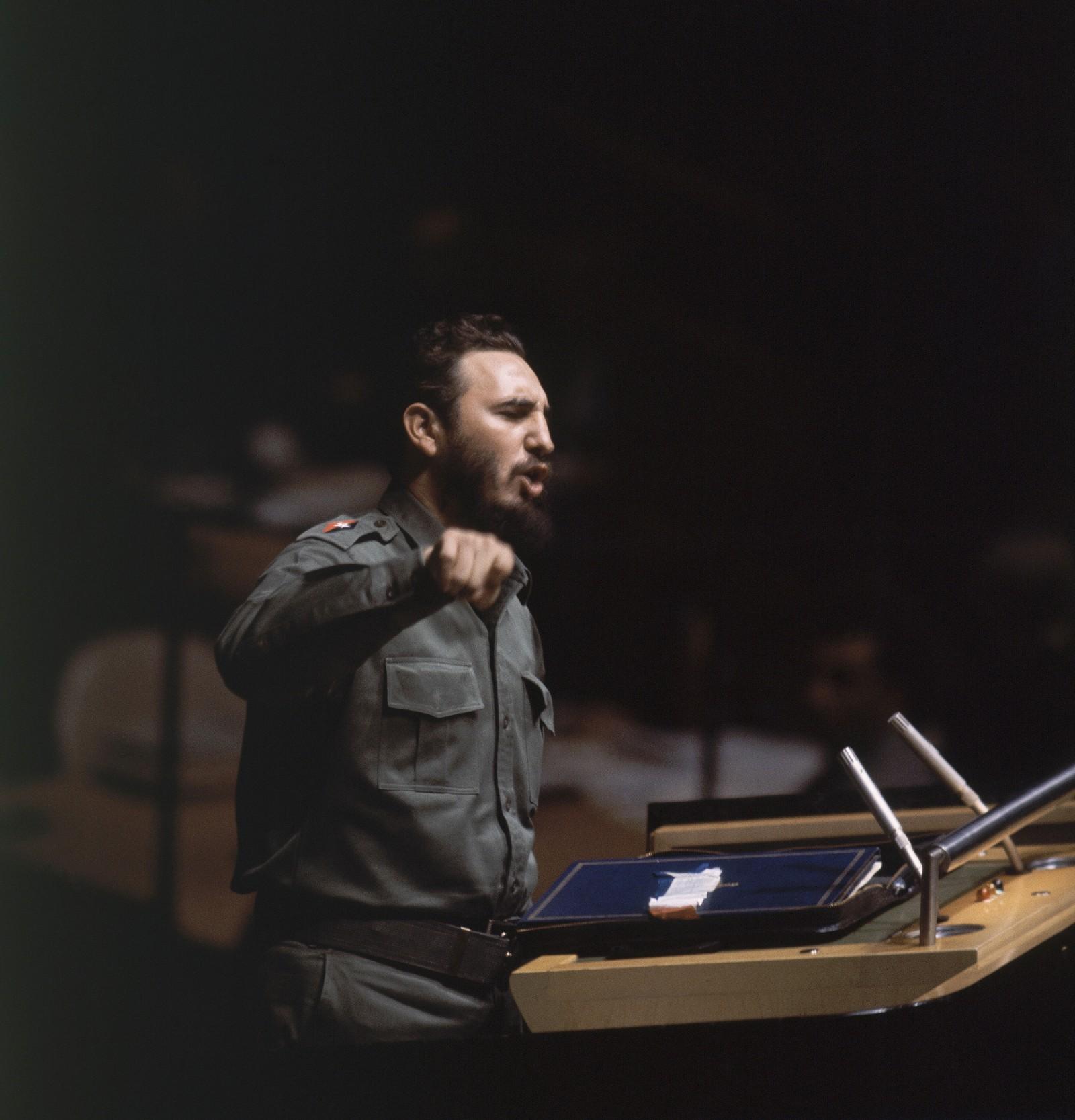Fidel Castro taler i hovedforsamlingen i FN 27. september 1960.