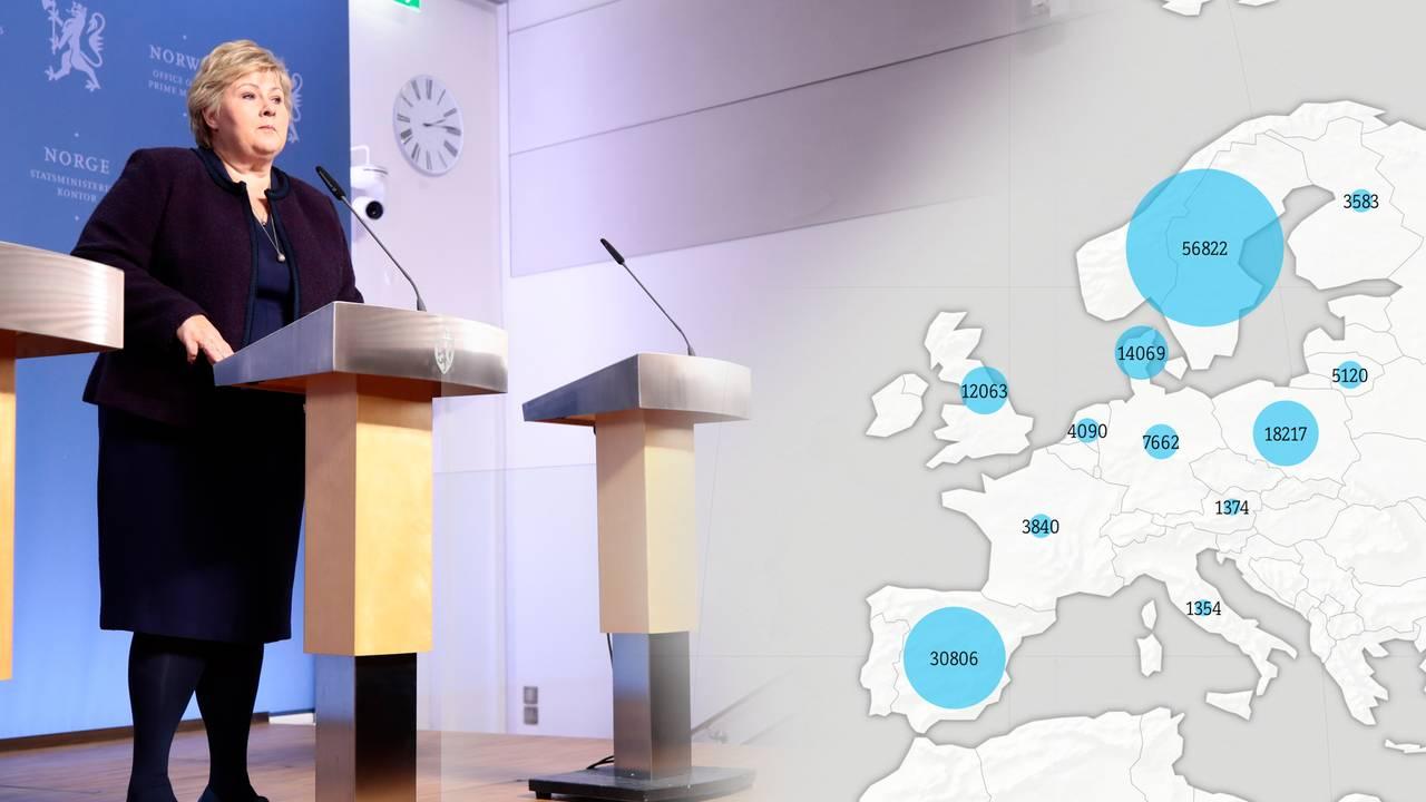 Montasje: Erna Solberg på pressekonferanse 12. mars 2020 og kart over norske mobiler ute i Europa samme dag